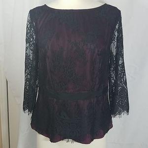 Ann Taylor Black Lace Dressy Blouse